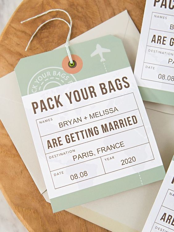 Save the date in plane ticket style, with information about the location and day of the wedding