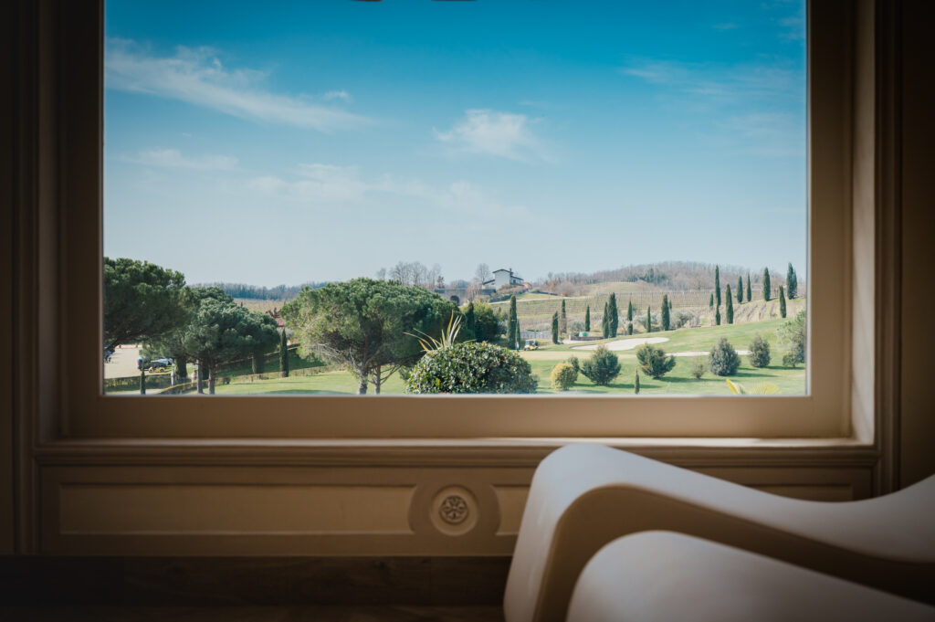 Hilly panorama of the Collio from a window of the Vinum SPA, the wellness center with wine therapy of the Castello di Spessa